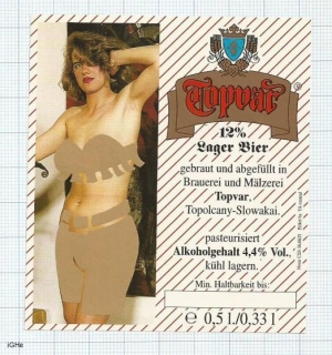 SLOVAKIA - Topvar Topolčany - Lager Bier - sexy nude woman - beer label