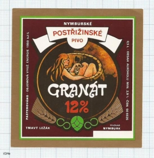 CZECH REPUBLIC - Nymburk - GRANAT - sexy nude woman - beer label
