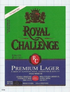 INDIA - Impala Distillery & Brew.Assolda-Quepem-Goa - ROYAL CHALLENCE beer label