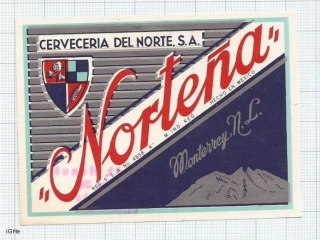 MEXICO - Cerveceria del Norte Moneterey - Cerveza NORTENA Clara - beer label