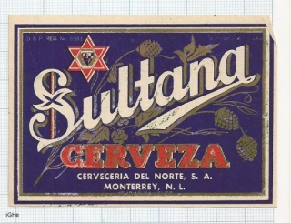 MEXICO - Cerveceria del Norte Moneterey - Cerveza SULTANA - beer label