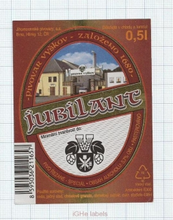 CZECH REPUBLIC - Vyškov - JUBILANT - beer label