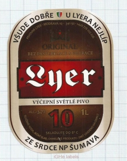 CZECH REPUBLIC - Micro, Pivovar Lyer Modrava - 10 - beer label
