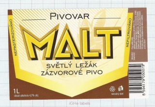 CZECH REPUBLIC - Micro, Pivovar Malt Ceske Budejovice - Zazvorove - beer label