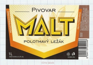 CZECH REPUBLIC - Micro, Pivovar Malt Ceske Budejovice - Polotmavy - Beer label
