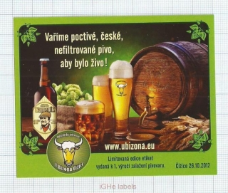 CZECH REPUBLIC - Micro, U Bizona Čižice Štěnovice - Beer label
