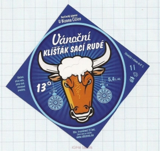 CZECH REPUBLIC - Micro, U Bizona Čižice Štěnovice - VANOCNI christmas Beer label