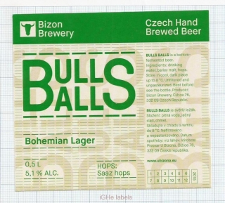 CZECH REPUBLIC - Micro, U Bizona Čižice Štěnovice - BULLS BALLS - Beer label