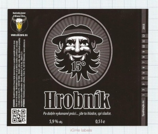 CZECH REPUBLIC - Micro, U Bizona Čižice Štěnovice - HROBNIK - Beer label