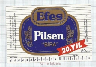 TURKEY - Efes Brewery - EFES PILSENER BIRA - beer label