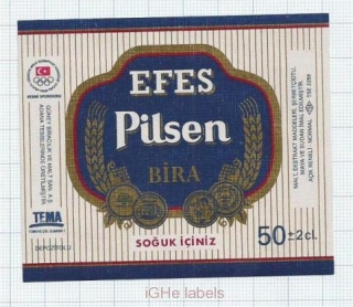 TURKEY - Efes Brewery - EFES PILSENER BIRA OLYMPIC Game - beer label