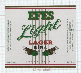 TURKEY - Efes Brewery - EFES LIGHT LAGER BEER - beer label