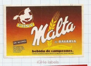 COLOMBIA - Bavaria - PONY Malta de Bavaria - beer label