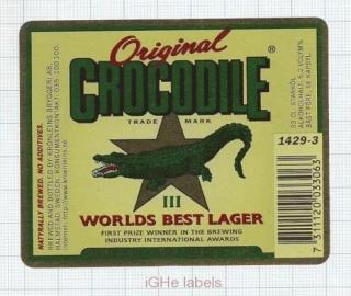 SWEDEN - Krönleins Bryggeri Halmstad - ORIGINAL CROCODILE - beer label