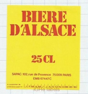 FRANCE - SAPAC Paris Biere dAlsace - EXPORT - beer label
