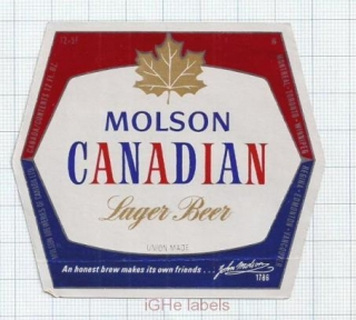CANADA - Molson Breweries - MOLSON CANADIAN LAGER BEER - beer label