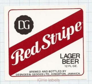 JAMAICA - Desnoes & Geddes LTD Kingston - RED STRIPE - beer label