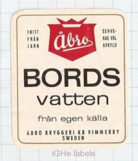 SWEDEN - Åbro Bryggeri Vimmerby - BORDS VATTEN - beer label