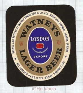 ENGLAND (UK) - Watney Combe Reid London - LAGER BEER - beer label