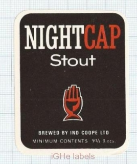 ENGLAND (UK) - Ind Coope Lim Burton-On-Trent - NIGHT CAP STOUT - beer label