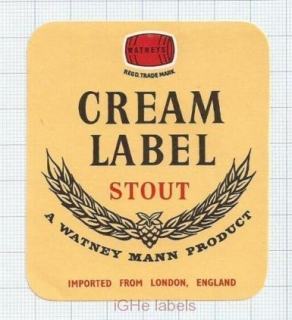 ENGLAND (UK) - Watney Mann Ltd London - CREAM LABEL STOUT - beer label