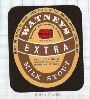 ENGLAND (UK) - Watney Combe Reid London - MILK STOUT - beer label