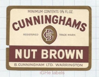 ENGLAND (UK) - B.Cunningham Warrington - NUT BROWN - beer label