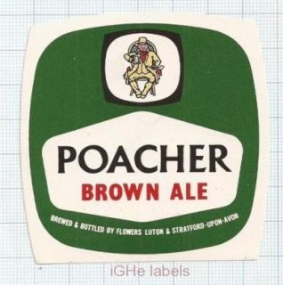 ENGLAND (UK) - Flowers Luton Stratford-Upon-Avon - POACHER BROWN ALE- beer label