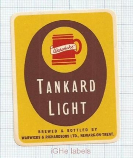 ENGLAND (UK) - Warwicks & Richardson LTD Newark-On-Trent - TANKARD beer label