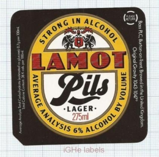 ENGLAND (UK) - Bass PLC Burton-on-Trent - LAMOT PILS  -beer label
