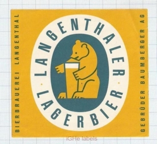 SWISS - Bierbrau Langenthal - LAGERBIER bear - beer label