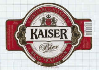 AUSTRIA - Brau Union Kaiser Bier  - Beer label