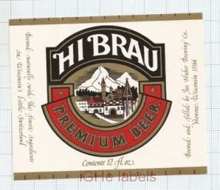 US - Jos.Huber Brew Co Monroe WI - HI BRAU - beer label