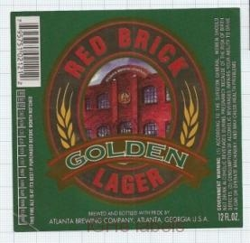 US - Atlanta Brew Co GA - RED BRICK Golden Lager - beer label