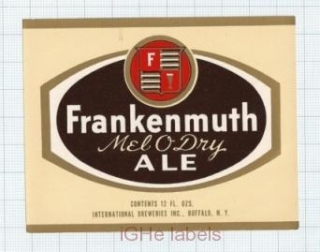 US - Internationl Brew Inc Buffalo NY - FRANKENMUTH Mel O Dry ALE - beer label