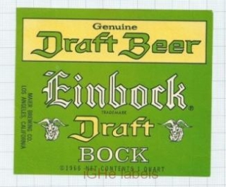 US - Maier Brew Co Los Angeles CA - EINBOCK Draft Bock - beer label