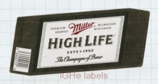 US - Miller Brew Co (MillerCoors) Milwaukee WI - HIGH LIFE - beer label