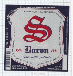 CZECH REPUBLIC - Svijany - BARON 15% - beer label