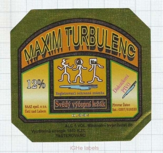 CZECH REPUBLIC - Žatec - MAXIM TURBULENCE - beer label