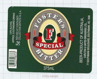 AUSTRALIA - Carlton & United Brew Southbank - FOSTER'S SPecial - beer label