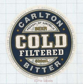 AUSTRALIA - Carlton & United Brew Carlton - COLD Filtered - beer label