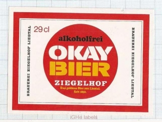 SWISS - Ziegelhof Liestal - OKAY BIER - beer label