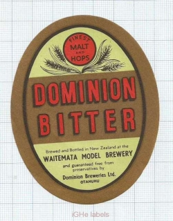 NEW ZEALAND - Waitemata Model Brew Otahuhu - DOMINION BITTER - beer label