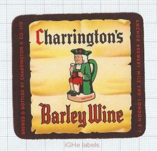 ENGLAND (UK) - Charrington & Co Anchor Brew London - BARLEY WINE - beer label