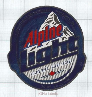 CANADA - Moosehead Brewery Saint John - ALPINE LIGHT - beer label