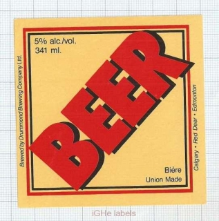 CANADA - Drummond Brewing Co. Red Deer - BEER- beer label