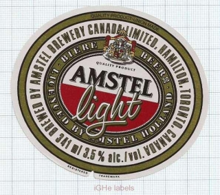 CANADA - Amstel Brewery - AMSTEL LIGHT - beer label