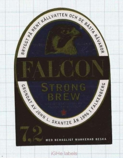 SWEDEN - Bryggeri AB Falken -Falkenberg - FALCON Strong Brew - beer label