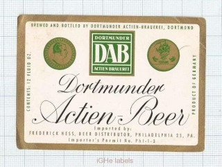 GERMANY - DAB Dortmund - Imp.Frederick Hess PA - beer label