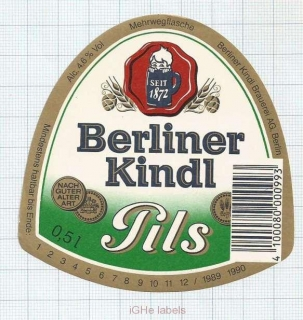 GERMANY - Berliner Kindl Berlin - PILS - beer label